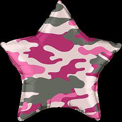 шар звезда комуфляж розовый