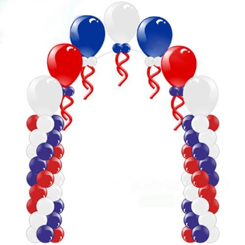 патриотическая арка из шаров с гелиевой аркой