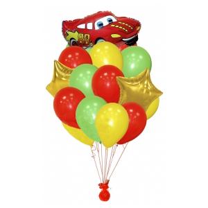 Фонтан из шаров, яркий с машинкой