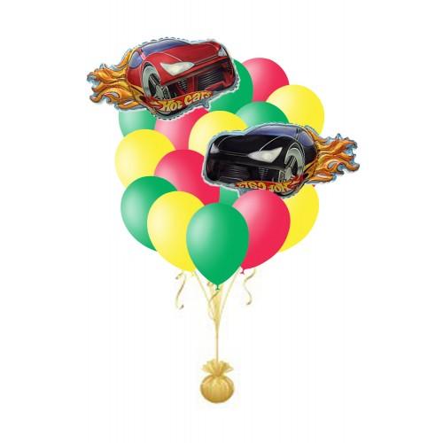 Фонтан из шаров с гоночными машинами